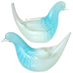 Murano Opalescent White Blue Bubbles Italian Art Glass Dove Bird Figurines