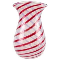 Murano Opalescent White Red Aventurine Flecks Italian Art Glass Flower Vase