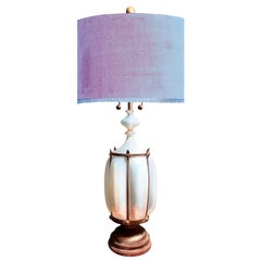 Murano Opaline Caged Art Glass Monumental Table Floor Lamp Regency