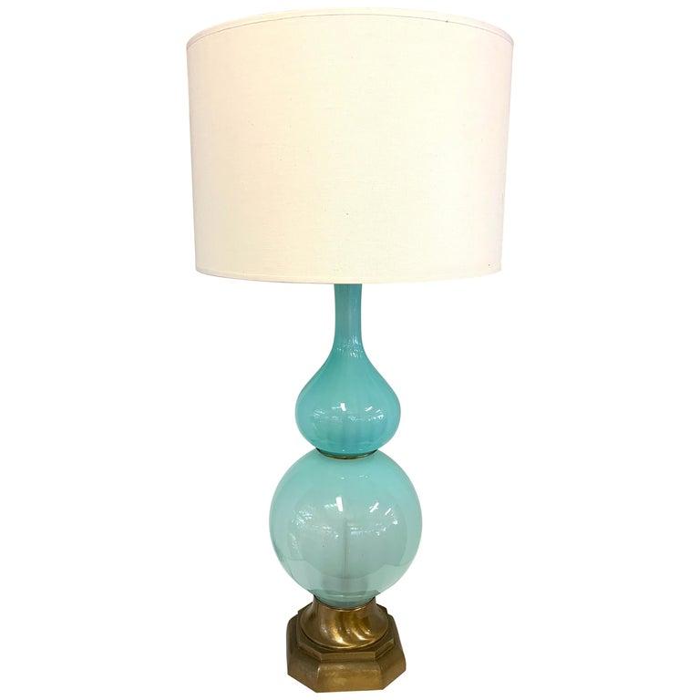 Murano Opaline Glass Lamp For Sale