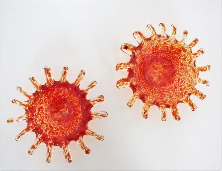 Mid-Century Modern Murano Orange and Clear Spotted Art Glass Bowls or Ashtrays, Pair For Sale
