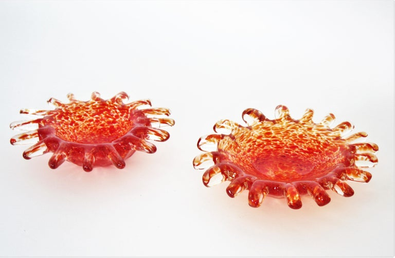 Murano Orange and Clear Spotted Art Glass Bowls or Ashtrays, Pair For Sale 2