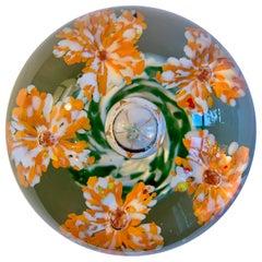 Murano Orange Flower Paperweight