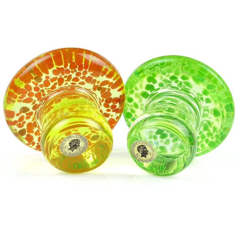 Murano Orange Green Italian Art Glass Mushroom Toadstool Paperweight Sculpture In Excellent Condition For Sale In Kissimmee, FL