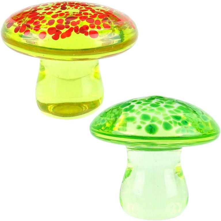 Murano Orange Green Italian Art Glass Mushroom Toadstool Paperweight Sculpture For Sale