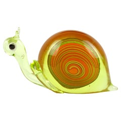 Murano Orange Uranium Green Italian Art Glass Snail Paperweight Sculpture Glows