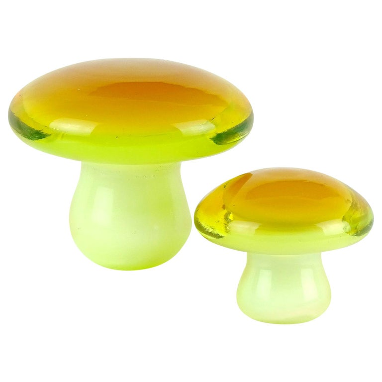 Murano Orange Yellow Italian Art Glass Mushroom Toadstool Paperweight Sculptures