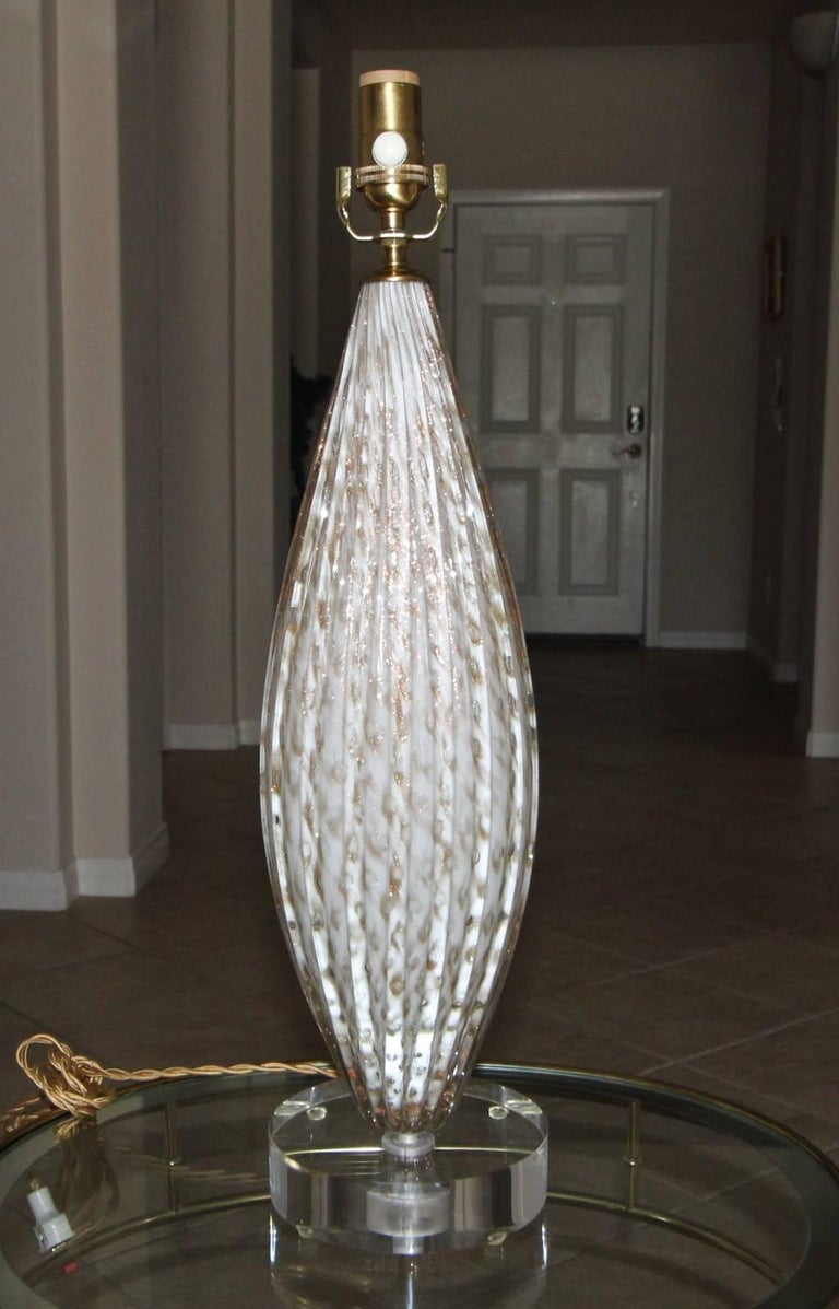 Brass Murano Oval Glass White Aventurine Table Lamp For Sale