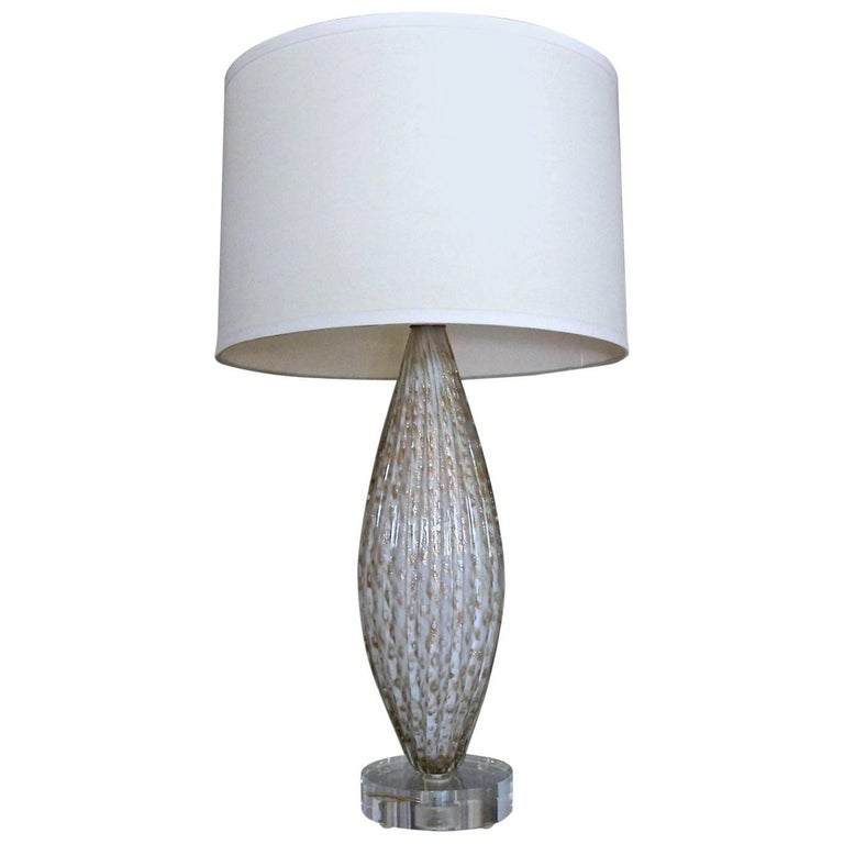 Murano Oval Glass White Aventurine Table Lamp For Sale