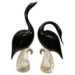 Murano Pair of Large Stylized Swans Mid-20th Century Modern
