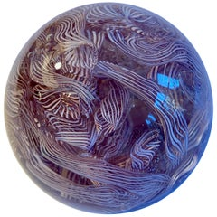 Murano Paperweight with Ribbon Detailing