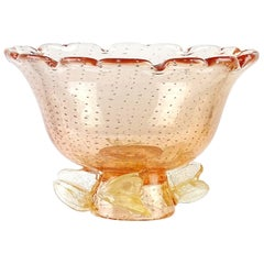 Murano Peach Gold Leaf Controlled Bubbles Italian Art Glass Antique Compote Bowl