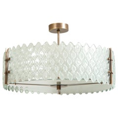 Murano Pearlized White or Frosted Glass and Bronze Round Chandelier, Italy, 2020