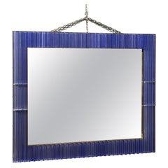 Murano Periwinkle Glass and Brass Mid-Century Wall Mirror, 1980