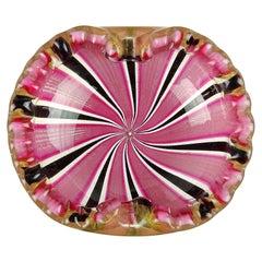 Murano Pink Black Ribbons Gold Flecks Italian Art Glass Scalloped Rim Bowl