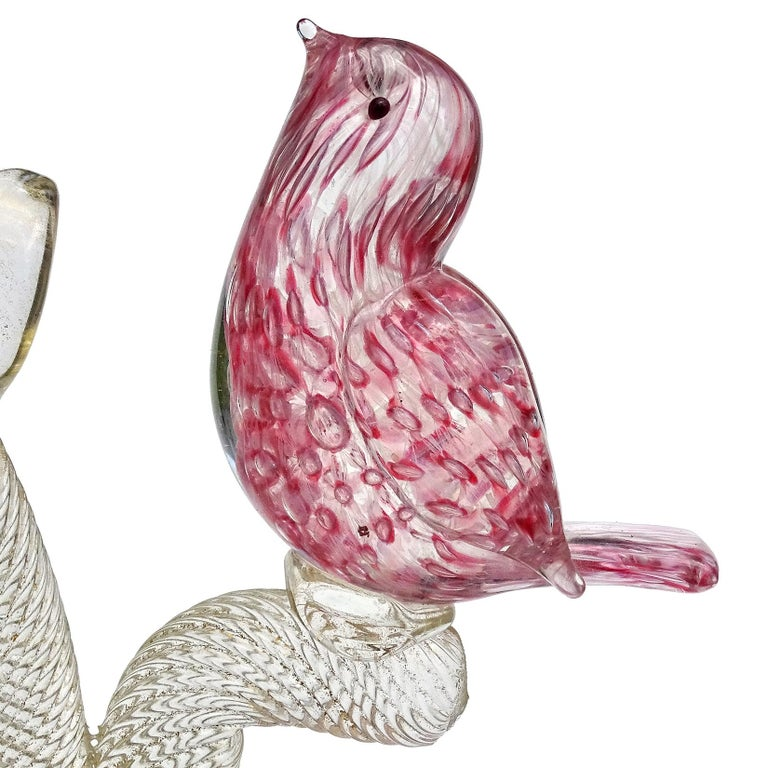 Murano Pink Bubbles Gold Fleck Italian Art Glass Baby Birds on Tree Sculpture In Good Condition For Sale In Kissimmee, FL