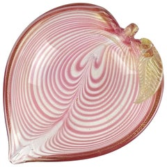 Murano Pink Fenicio Pulled Feather Gold Flecks Italian Art Glass Leaf Shape Bowl