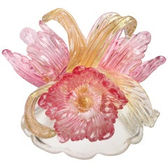 Murano Pink Flowers and Gold Flecks Italian Art Glass Centerpiece Sculpture