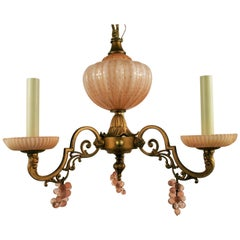 Murano Pink Glass Chandelier