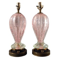 Murano Pink Glass with Bullicante and Silver Flakes Pair of Table Lamps
