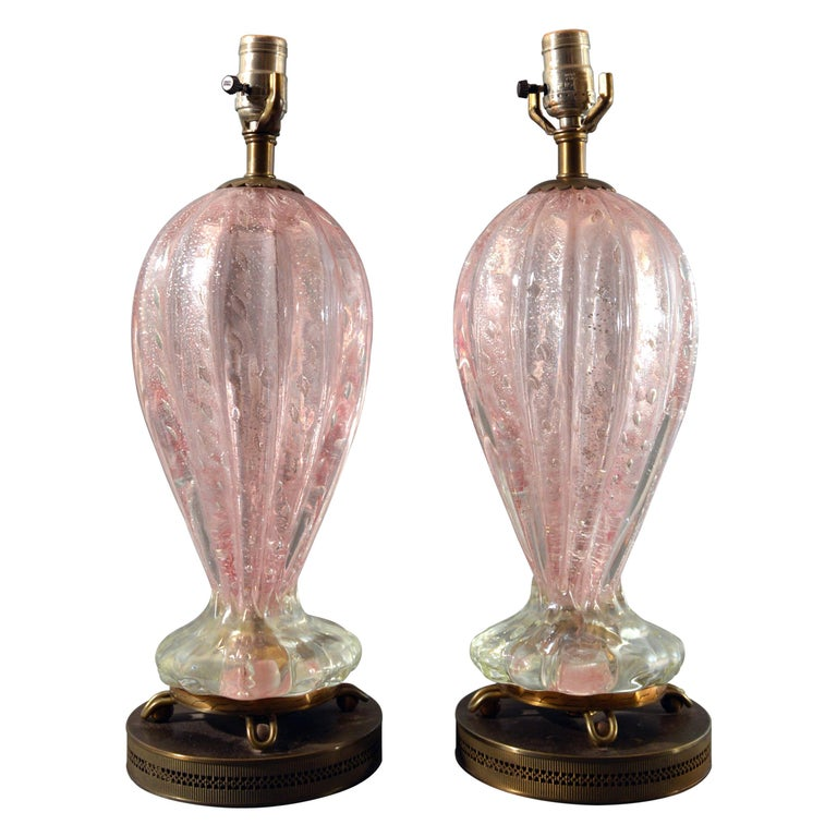Murano Pink Glass with Bullicante and Silver Flakes Pair of Table Lamps For Sale