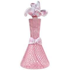 Murano Pink Roticello Ribbons Italian Art Glass Rose Stopper Perfume Bottle