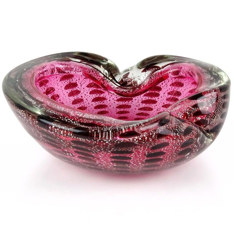 Murano Pink Silver Flecks Dark Purple Spots Italian Art Glass Bowl Ashtray In Good Condition For Sale In Kissimmee, FL