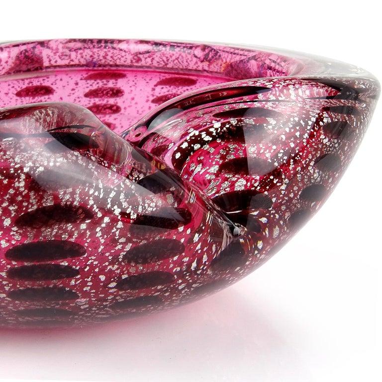 20th Century Murano Pink Silver Flecks Dark Purple Spots Italian Art Glass Bowl Ashtray For Sale