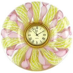 Murano Pink White Yellow Ribbons Italian Art Glass Decorative Round Desk Clock