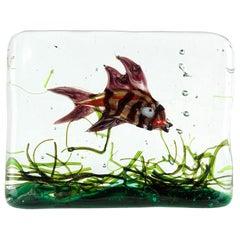 Murano Purple Aventurine Fish Italian Art Glass Aquarium Paperweight Sculpture