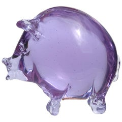 Murano Purple Blue Alexandrite Italian Art Glass Color Changing Pig Figurine