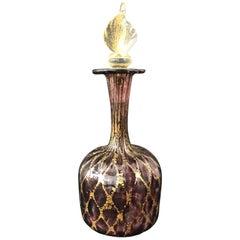 Murano Purple Glass Flacon with Gold Inclusion, circa 1900