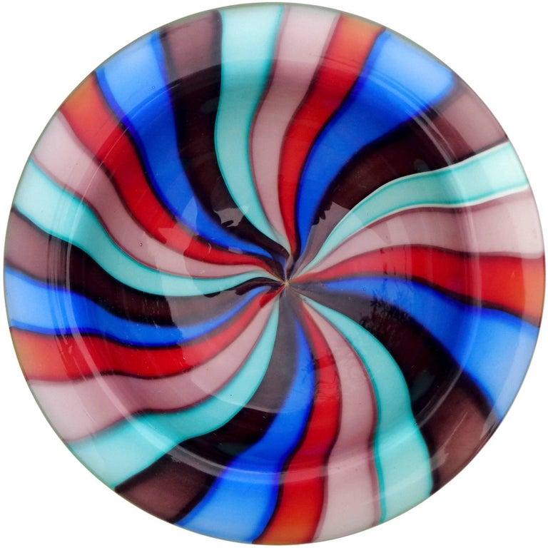 Murano Rainbow Blue Red Pinwheel Stripes Italian Art Glass Decorative Dish Bowl In Good Condition In Kissimmee, FL