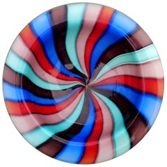 Murano Rainbow Blue Red Pinwheel Stripes Italian Art Glass Decorative Dish Bowl