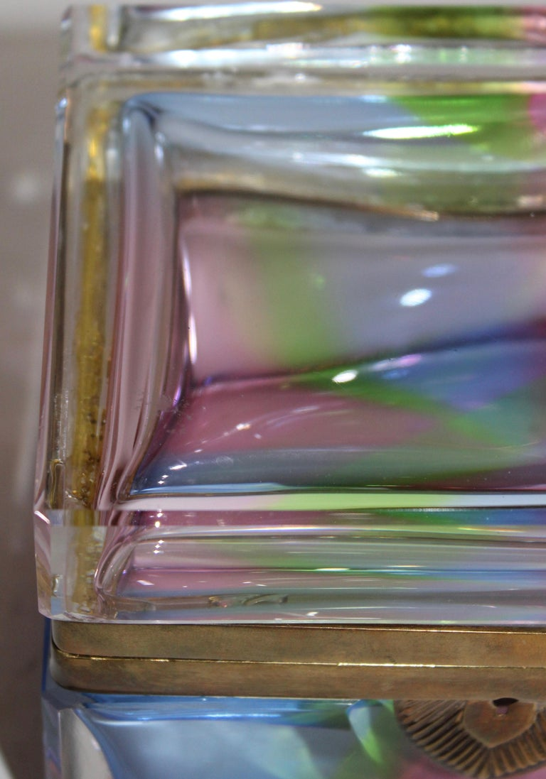 Murano Rectangular Polychrome Glass Box with Gilt Mounts, Italy, circa 1960 In Good Condition In London, GB