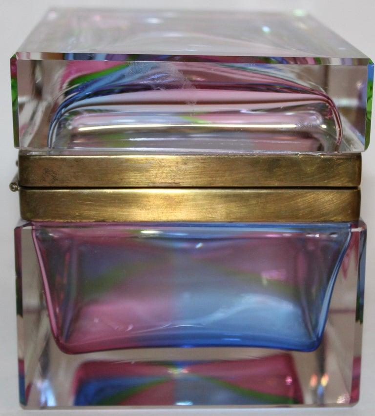 Mid-20th Century Murano Rectangular Polychrome Glass Box with Gilt Mounts, Italy, circa 1960