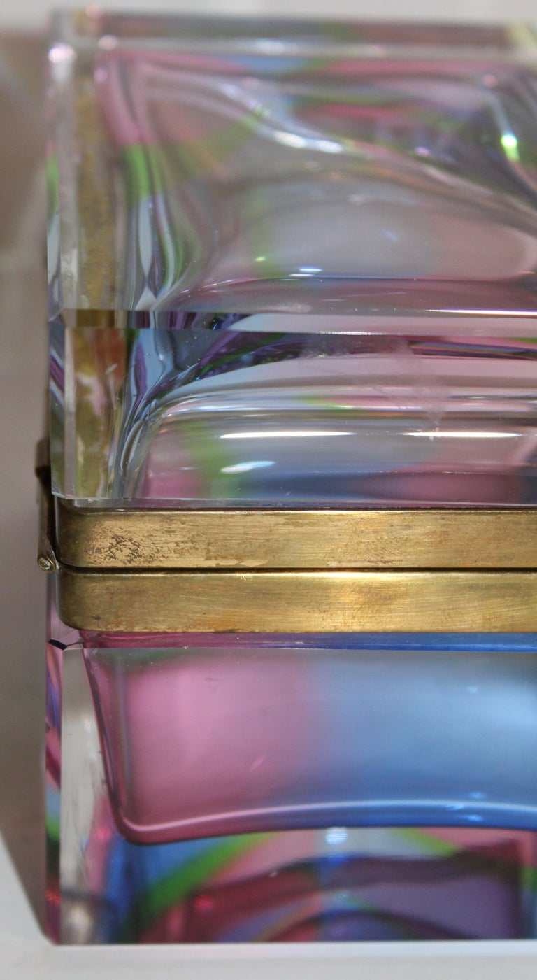 Murano Rectangular Polychrome Glass Box with Gilt Mounts, Italy, circa 1960 1