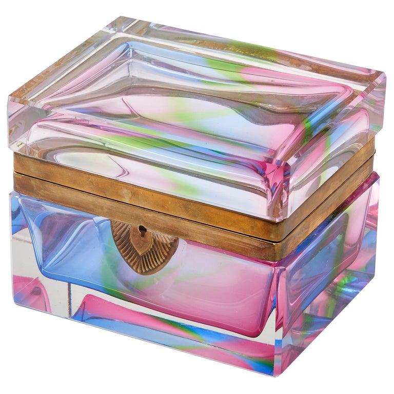 Murano Rectangular Polychrome Glass Box with Gilt Mounts, Italy, circa 1960
