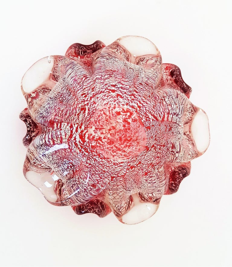 Murano Red and Silver Flecks Art Glass Flower Bowl or Ashtray, 1960s For Sale 3