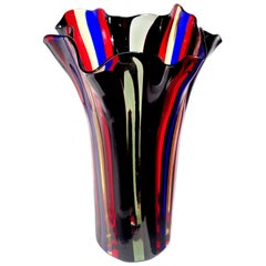 Murano Red Blue Yellow Black Gray Bands Italian Art Glass Fazzoletto Flower Vase