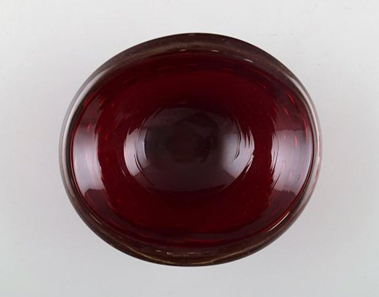 Mid-Century Modern Murano, Red Bowl in Mouth Blown Art Glass, 1960s For Sale