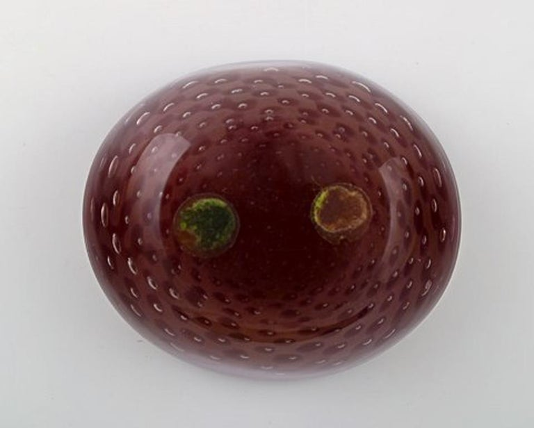Italian Murano, Red Bowl in Mouth Blown Art Glass, 1960s For Sale