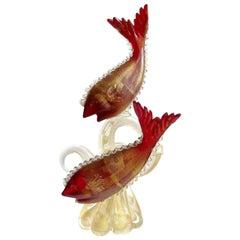 Murano Red Fish Gold Fleck Coral Tendril Italian Art Glass Centerpiece Sculpture
