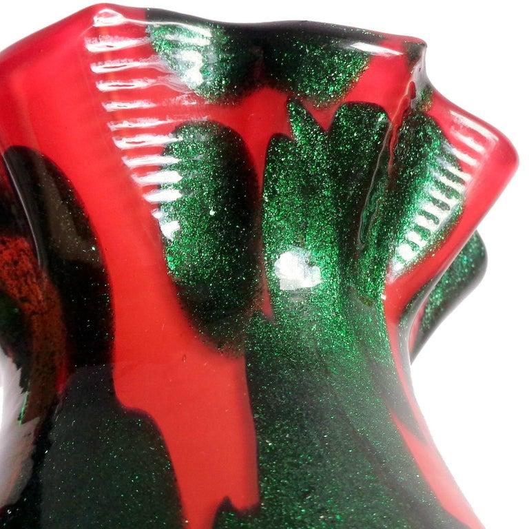 Hand-Crafted Murano Red Green Aventurine Spots Italian Art Glass Ruffle Rim Flower Vase For Sale