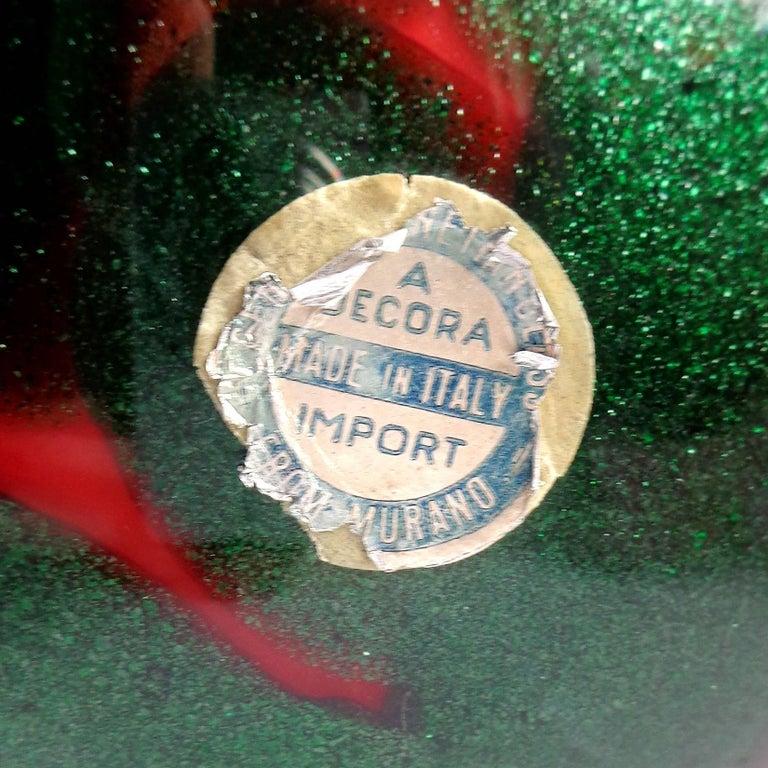 20th Century Murano Red Green Aventurine Spots Italian Art Glass Ruffle Rim Flower Vase For Sale