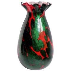 Murano Red Green Aventurine Spots Italian Art Glass Ruffle Rim Flower Vase