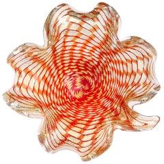 Murano Red Orange Gold Flecks Italian Art Glass Spiderweb Design Leaf Bowl