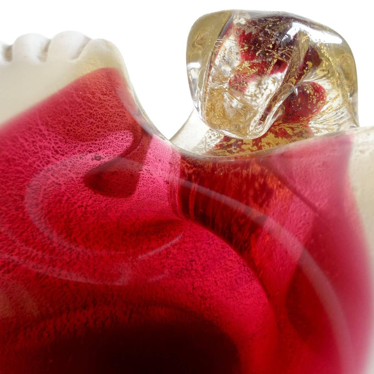 Mid-Century Modern Murano Red White and Gold Flecks Italian Art Glass Seashell Dish Ring Bowl For Sale