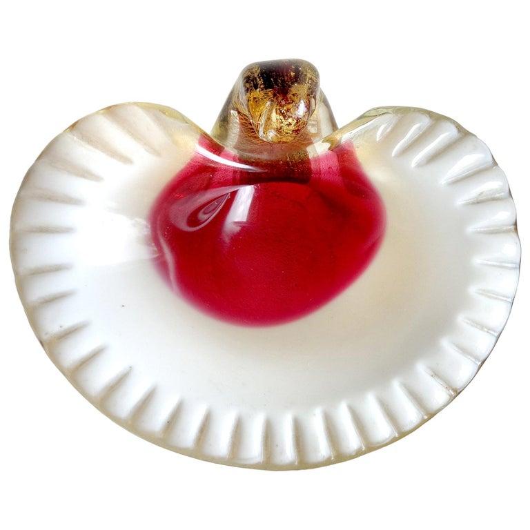 Murano Red White and Gold Flecks Italian Art Glass Seashell Dish Ring Bowl For Sale