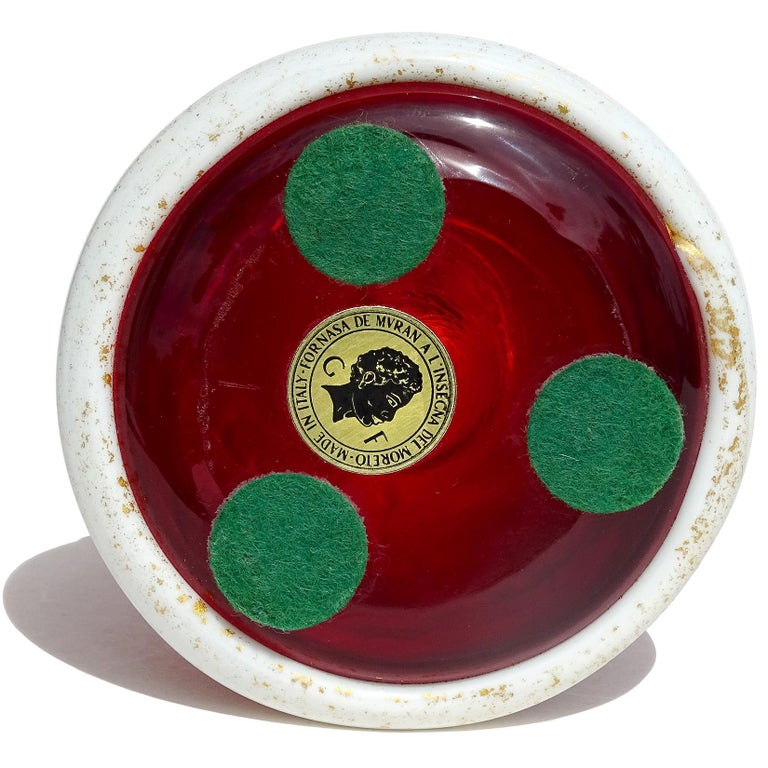 Murano Red White Painted Face Italian Art Glass Santa Claus Paperweight Figure For Sale 1